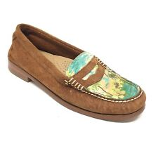Women's GH Bass & Co Weejuns Penny Loafers Shoes Size 5M Brown Suede Tropical G2