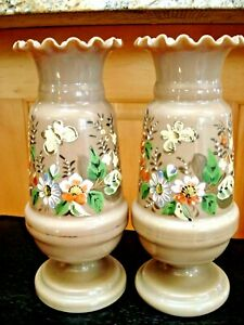 Pair Victorian Opaline Bristol Glass Ruffled Rim Antique Semi-Translucent Vases