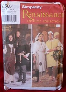 SIMPLICITY 8587 ALL SIZES, RENAISSANCE COSTUME COLLECTION UNCUT, ANDREA SCHEWE