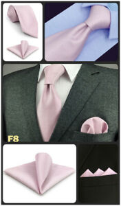 S&W SHLAX&WING Mens Tie Set Extra Long Necktie with Pocket Square Solid Color