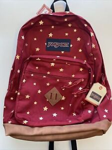 Authentic JanSport City View Remix Backpack Viking Red Golden Stars,Hard To Find