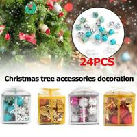 24Pcs/Set Mixed Xmas Ball Christmas Tree Hanging Ball Ornaments Home Decor