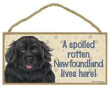 Newfoundland A Spoiled Rotten Dog Sign wood Hanging Wall Plaque black puppy Usa