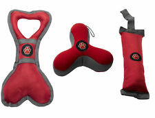 Outdoor Paws Dog Puppy Toy Play Pack Bone Tugger Boomerang Retriever Red Grey