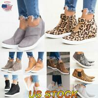 US Size 6-9 Women Round Toe Casual Sport Sneakers Slip On Zipper High-top Shoes