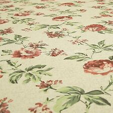 Fresh Rose Floral Pattern Red Colour Upholstery Fabric For Home Curtains Chairs