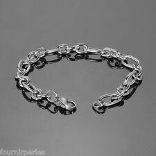 1 Bracelet a Chaîne Ovale Style Simple Mode Bijoux Chic Argent mat 20cmx7mm