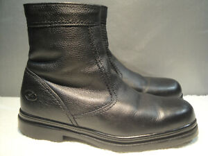 MENS 11 M FLORSHEIM WATERPROOF BLACK LEATHER WARM SHEARLING COMFORT ZIP BOOTS