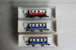 Fleischmann piccolo Wagenset 3tlg Lokalbahn Edelweiss Abteilwagen 8056 8053 OVP