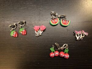 Lot of Girl's Clip On Earrings, Never Worn, Fruit, Flower, Bows, So Cute!