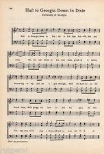 "UNIVERSITY OF GEORGIA Orig Vtg Song Sheet c1932 ""Hail to Georgia Down in Dixie"""