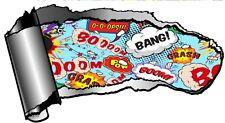 Grande Rasgado abierta hueco entre dientes Rip Torn Metal & Retro Comic Book Boom motivos Pegatina de Coche