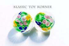 "*NEW!* 2 MINIATURE HANDMADE GLASS MARBLES FLORALS ""FOREST GLEN"" 16mm PLAYERS"