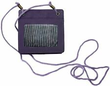 Genuine Cowhide Purple Leather 2-Sided ID Badge Holder With Rear Pouch & Lanyard