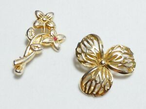 PRETTY x2 Goldtone Floral Flower BROOCHES - One With Red Stone