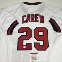 Autographed/Signed ROD CAREW California White Baseball Jersey JSA COA Auto