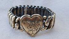 With Bird Bracelet Vintage Victorian Expandable Heart