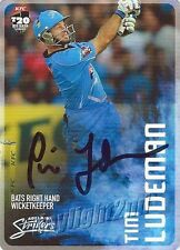 ✺Signed✺ 2014 2015 ADELAIDE STRIKERS Cricket Card TIM LUDEMAN Big Bash League