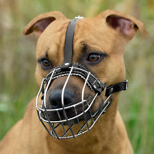 Dog Muzzle PitBull Pit Bull AmStuff Adjustable Wire Basket Leather Straps
