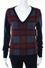 Equipment Femme Blue Red Wool Plaid Sweater Top Size Extra Small $268 NEW JG07