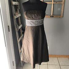 Ann Taylor LOFT Petites Brown White Embroidered Panel Strap[less Cotton Dress 0P