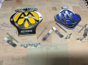 CLASSIC AA CAR BADGE AND RAC BADGE SERIAL NUMBER COLLECTABLE