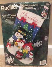 "Bucilla 83386 ""Mr & Mrs F T Snowman"" Felt Christmas Stocking Kit 18"" 1996"