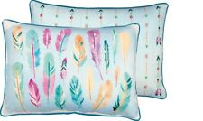 "Watercolor Art Feathers Arrows Pillow Pastel Blue Pink Rectangle 22"" 15"" PBK NEW"