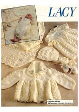 "Baby Layette Dress, Jacket, Bonnet, Bootees 16""- 20"" 4 Ply Knitting Pattern"