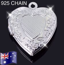Stunning 925 Sterling Silver Heart Locket Photo Charm Pendant Necklace Small AU