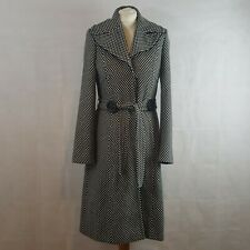 Principles Womens Winter Coat White Black Size 8 Wool Patterned Collared Belted