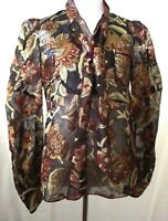 Anna Sui  Sheer  Floral Print Metallic  Long Sleeve Tie neck Top Blouse Size 2