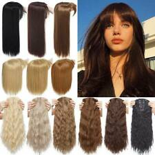 One Piece Topper Hair Piece With Bangs Clip In Hair Extensions as Human Straight