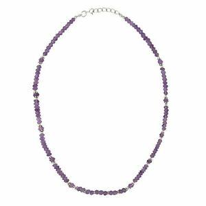 Silverly .925 Sterling Silver Purple Amethyst Gemstone Flower Bead Necklace