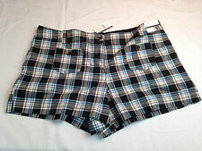 NEW NWT New York & Co Women's Shorts City Twill Size 18 Plaid Blue