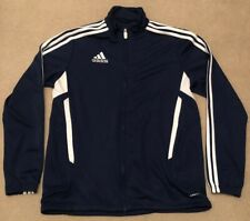 mens adidas jacket coat, size s, striped, blue, zip pockets, football,immaculate