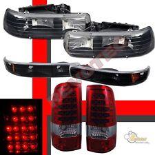 99-02 Chevy Silverado 1500 2500 Black Headlights Bumper Signal +LED Tail Lights