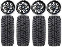 "MSA Black Vibe 14"" UTV Wheels 28"" Regulator Tires Polaris Ranger 900 XP"