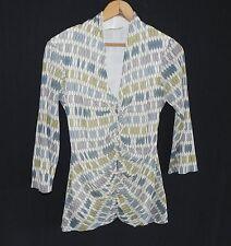 Weston Wear Top 3/4 Sleeve Nylon Mesh Multicolored V neck Size L Stretchable