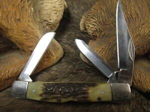 * GERBER STOCKMAN POCKET KNIFE 1 LOCK BLADE 2 SLIP JOINT w STAG ANTLER HANDLES