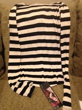 Heavy Red Gothic Black and White Stripe Long Sleeve Hood Top Shirt Blouse NEW