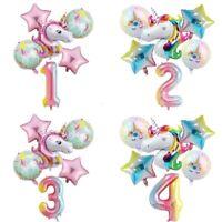 "6pc Rainbow Unicorn Balloon 32"" Number Birthday Party Decoration Wedding Ballon"