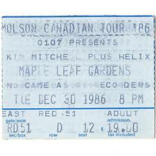 HELIX & KIM MITCHELL Concert Ticket Stub TORONTO ON 12/30/86 CANADA MAPLE LEAF