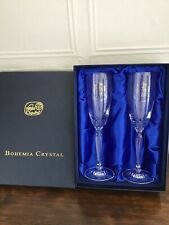 Brand New BOHEMIA Crystal  25th (silver) Wedding Anniversary Champagne Flutes