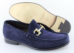 Men's SALVATORE FERRAGAMO 'Mason' Navy Blue Suede Loafers Size US 8.5 - 2E