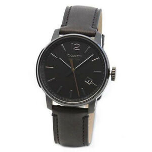 COACH 14601534 BLEECKER BLACK LEATHER GUNMETAL STAINLESS STEEL CASE MEN'S WATCH