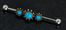 """Steel Industrial Barbell 14g 1.5"""" Triple Turquoise Burnish Gold 316L Surgical"""