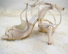 Handmade Champagne Diamante Bridal Shoes Pearl Satin Wedding Sandals UK 3-8