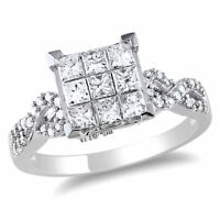 Amour 1 CT TW Princess Cut Diamond Engagement Ring in 10k White Gold
