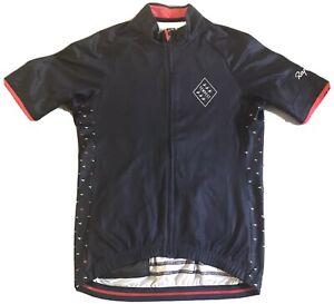 Medium Rapha Short Sleeved Men's Cycling Tempest Jersey—Navy blue/red accemt EUC